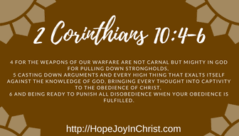 2 Corinthians 10:4-6 The Weapons of our warfare lead to Peace of mind