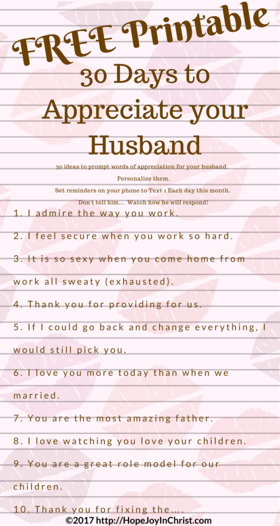 Marriage Challenge 30 Way's to Appreciate your Husband PinIt 2 ( #ChristianMarriage, #BiblicalWifehood (Reclaiming Hope & Joy in your Marriage))