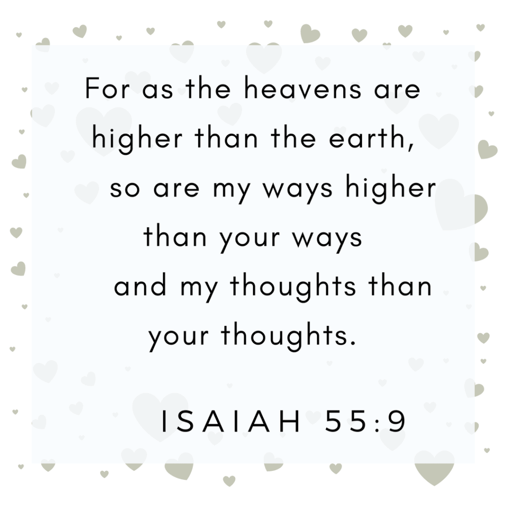 Isaiah 55:9 God's thoughts are higher
