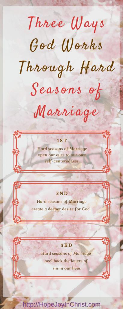 3 Ways God Works Through Hard Seasons of Marriage. Christian Marriage Advice. Biblical Wifehood Resources. Teri Lynne Underwood