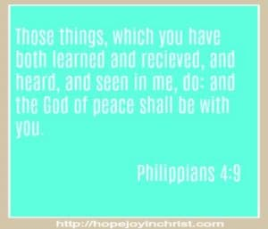 Philippians 4 9 The God of peace shall be with you