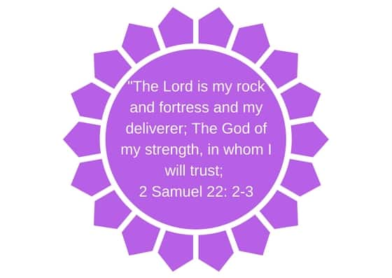 2 Samuel 22: 2-3 -The Lord is my rock and fortress and my deliverer; The God of my strength, in whom I will trust;