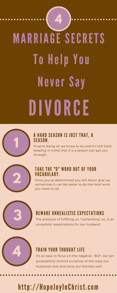 4 Marriage Secrets so You Never Say That Dirty D Word PinIt (Christian Marriage, Biblical Wifehood, Christian Divorce, (Reclaiming Hope & Joy in your Marriage))