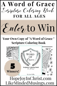 A word of grace coloring book giveaway from Hope Joy in CHrist and Like Minded Musings