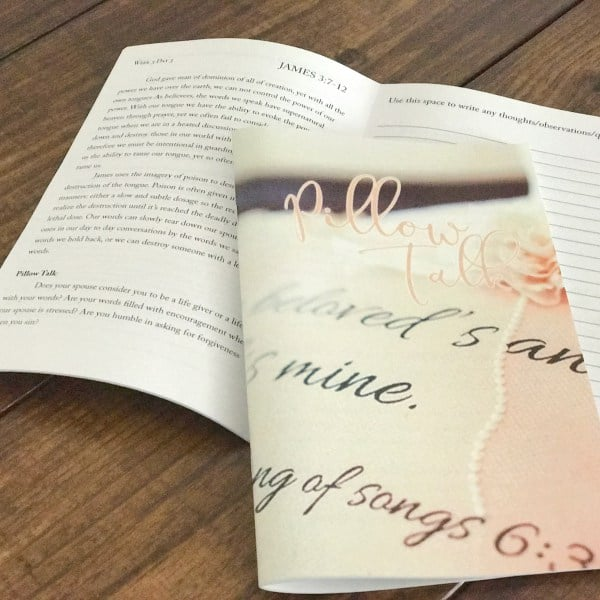 Pillow Talk Devotional - James Walk through the book of James in 5 weeks with short daily readings of Scripture, devotional sections, pillow talk questions to do with your spouse and space to journal, ask questions or write out Scripture. Biblical Wifehood Natalia Drumm