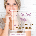 A Prudent Wife 3 Qualities of a Wise Woman prudent wife quotes. Christian wife. Christian wife quotes. How to be a Christian wife, Proverbs 31 woman, Godly wife, How to be a godly wife. Characteristics of a godly wife. Godly wife quotes. Wise woman quotes. Wise woman Bible. #ChristianMarriage Christian marriage. Christian Marriage advice #HopeJoyInChrist #HopeForMarriage