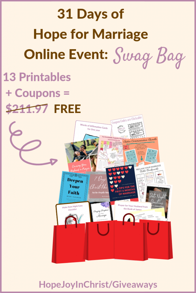 Free Gifts for the 31 Days of #HopeForMarriage Online event. Hope for Marriage online Event Swag Bag 2019. Giveaway. Giveaways. Giveaway and contests. Giveaway Time. #Giveaways #HopeJoyInChrist